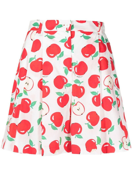 Boutique Moschino apple print pleated shorts in white