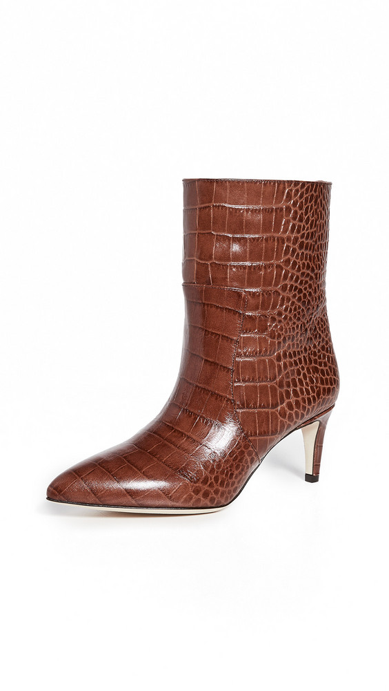 Paris Texas Moc Croco Seamed Ankle Boots in brown