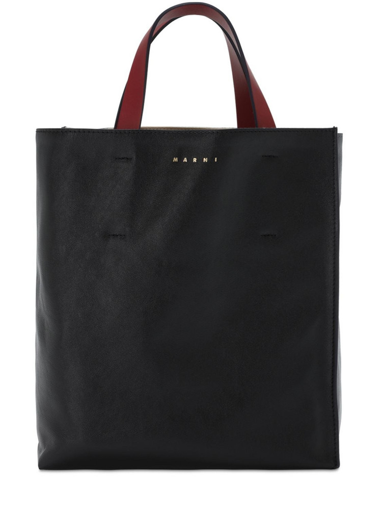 MARNI Md Museo Soft Smooth Leather Tote in black