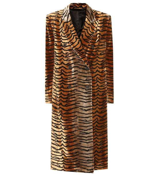 The Attico Tiger-print velvet coat in brown