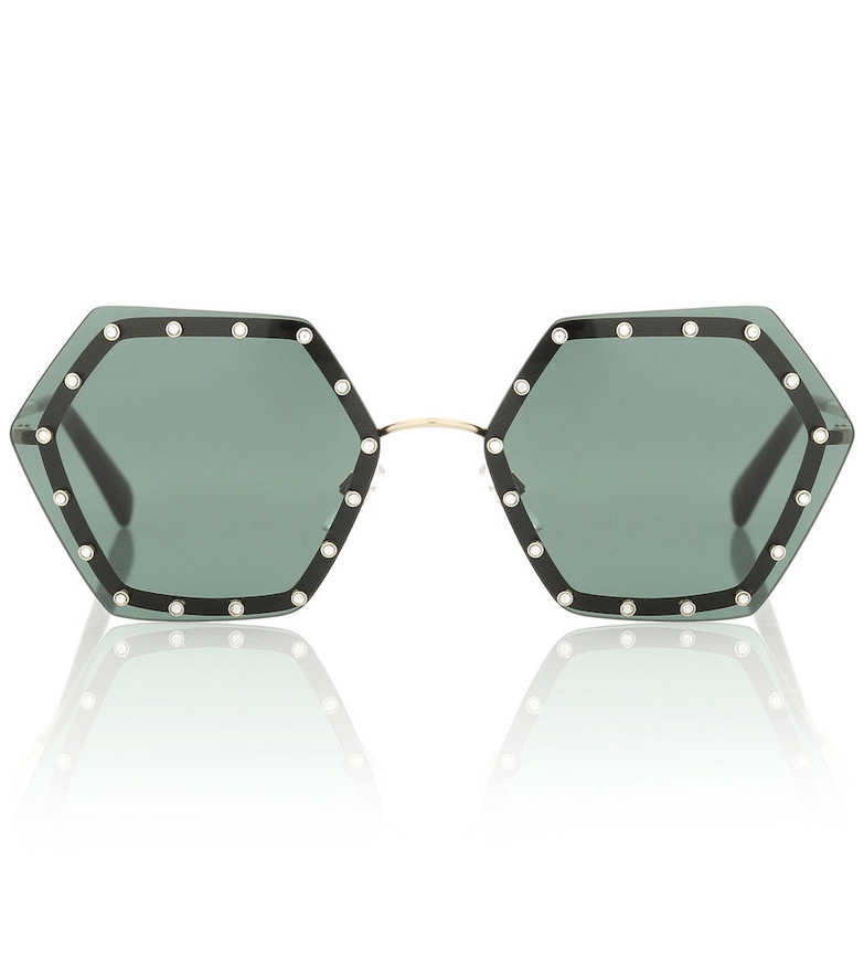 Valentino Crystal-embellished sunglasses in green