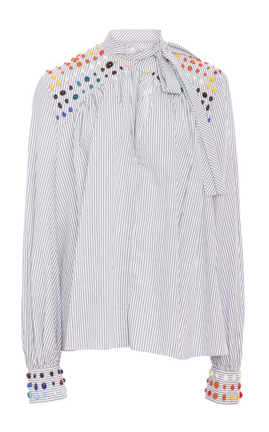 Rosie Assoulin Bead-Embellished Striped Cotton-Poplin Shirt Size: 4