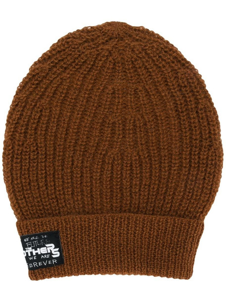 Raf Simons patch-detail ribbed beanie in neutrals