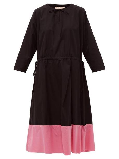 Marni - Godet Hem Cotton Poplin Midi Dress - Womens - Black Pink