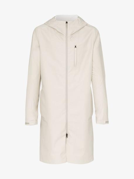 Descente Allterrain cream zip-up hooded rain coat