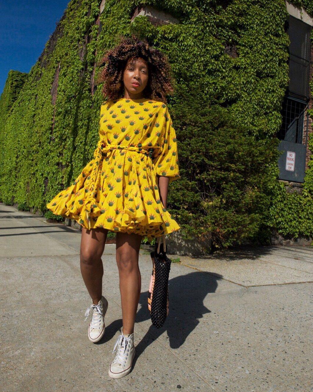 dress mini dress yellow dress floral dress long sleeve dress shoulder bag converse