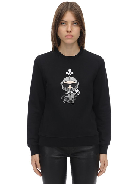 KARL LAGERFELD Karl Knight Printed Cotton Sweatshirt in black