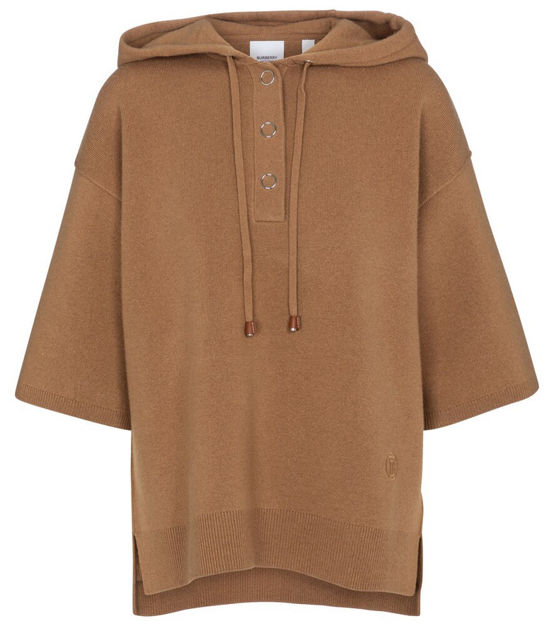 Burberry Stretch cashmere-blend hoodie in brown