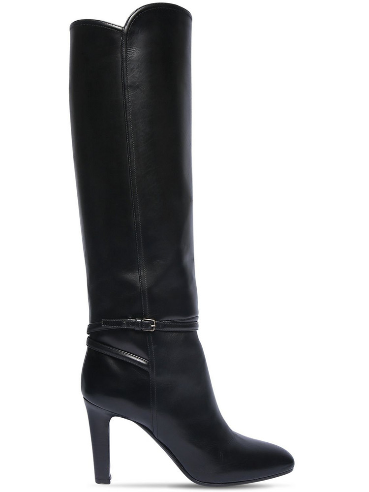 SAINT LAURENT 90mm Jane Leather Tall Boots in black