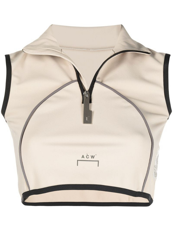 A-COLD-WALL* zipped vest crop top in neutrals