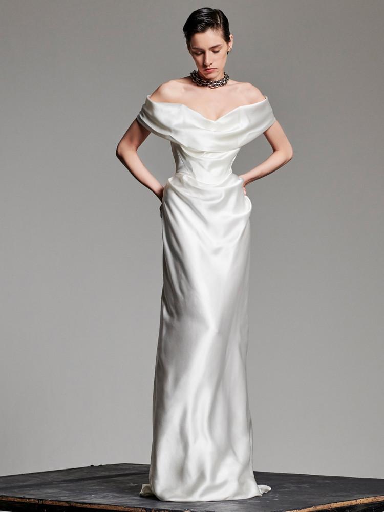 VIVIENNE WESTWOOD Heavy Silk Satin Cocotte Dress in ivory