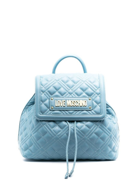 Love Moschino quilted logo backpack in blue