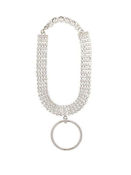 Alessandra Rich - Crystal Ring Pendant Choker - Womens - Crystal