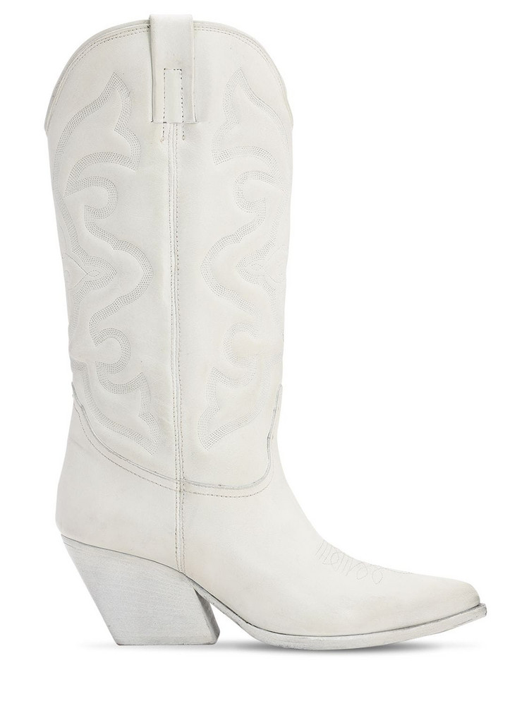 ELENA IACHI 70mm Leather Tall Cowboy Boots in white