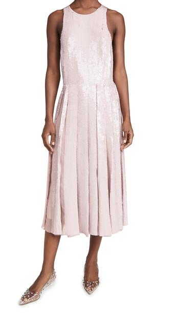 Tibi Eclair Sequin Beading Halter Dress in rose