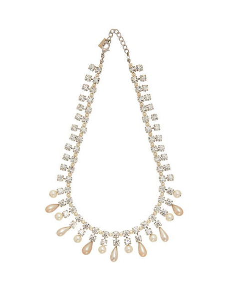 Alessandra Rich - Crystal And Faux Pearl Necklace - Womens - Crystal