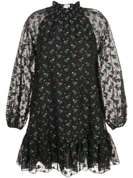 Cynthia Rowley florence mini flounce dress in black