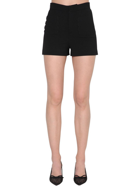 RED VALENTINO High Rise Crepe Shorts in black