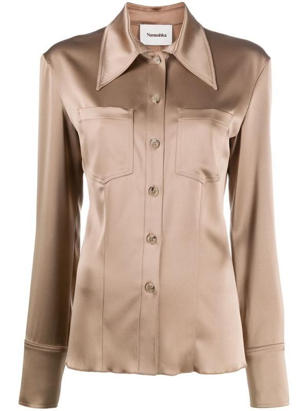 Nanushka Tippi satin shirt in brown