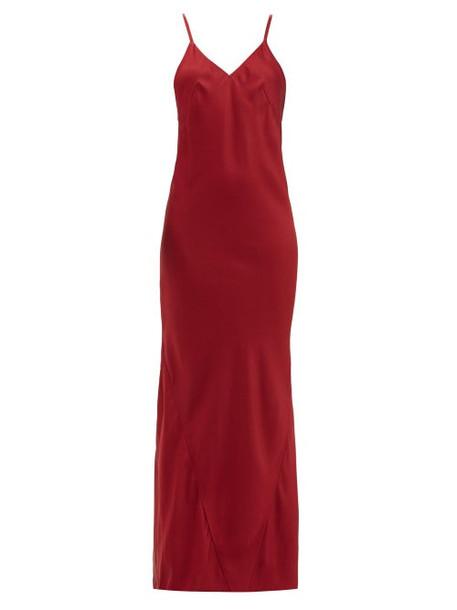 Haider Ackermann - Kuiper V Neckline Satin Crepe Dress - Womens - Dark Red