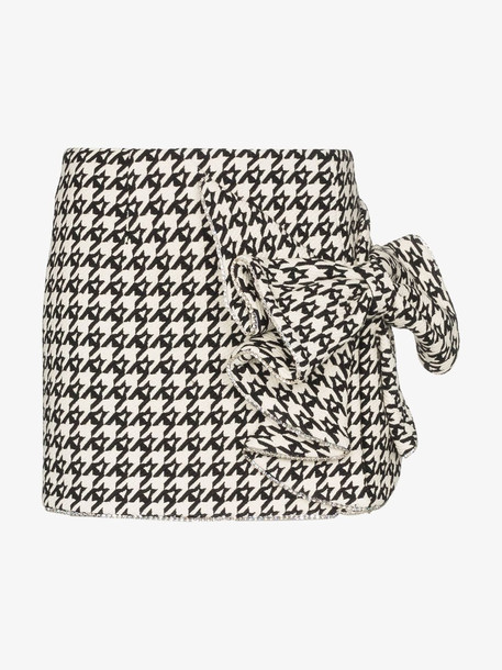 AREA Crystal bow detail houndstooth skirt in black