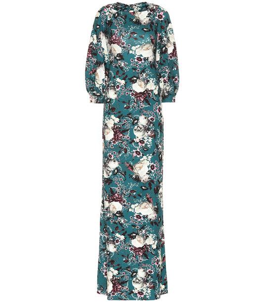 Erdem Etheline floral ponte maxi dress in green