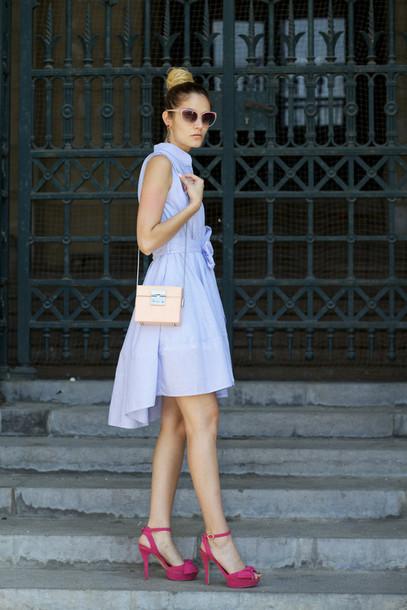 from brussels with love blogger dress shoes bag blue dress shirt dress mini bag asymmetrical
