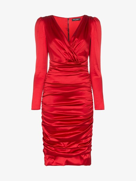 Dolce & Gabbana ruched silk satin dress in red