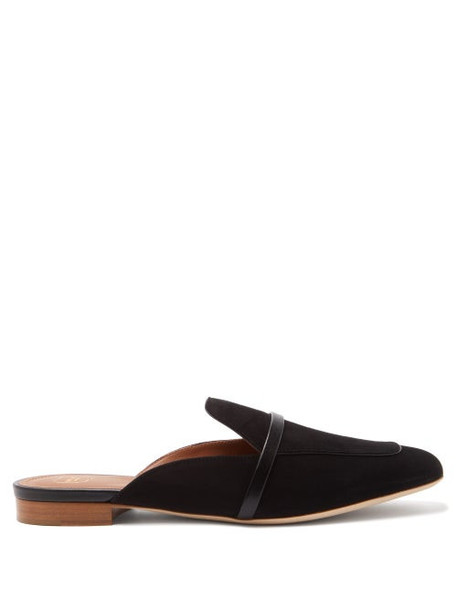 Malone Souliers - Jada Backless Suede Loafers - Womens - Black