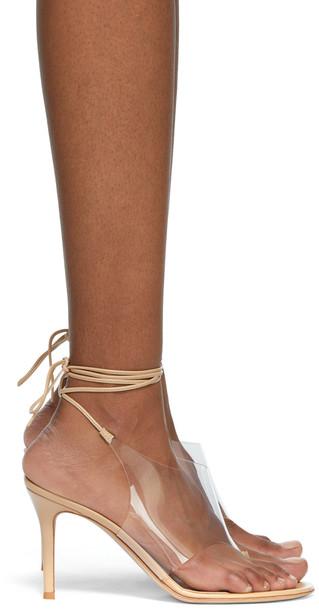 Gianvito Rossi Transparent & Beige Nerea Heeled Sandals