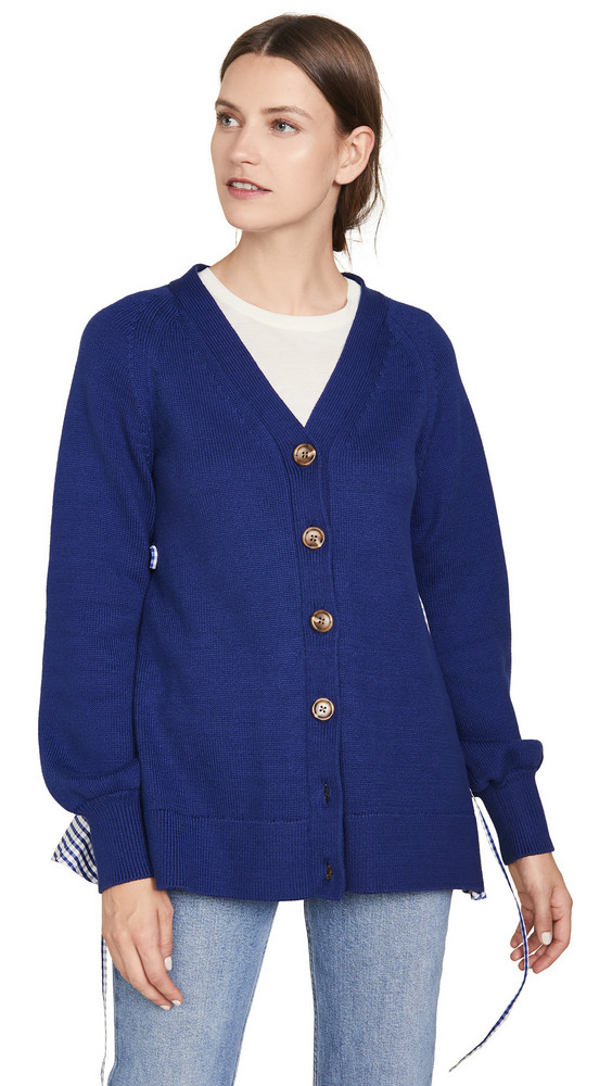 Adeam Ruched Parachute Cardigan in navy