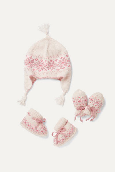 Johnstons of Elgin Kids - Infant Fair Isle Cashmere Booties in pink