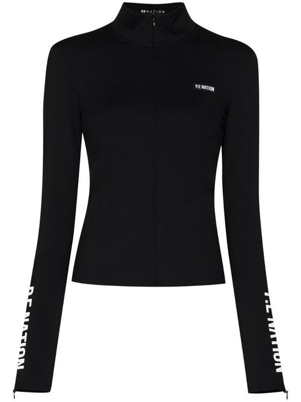 P.E Nation Run half-zip base layer top in black