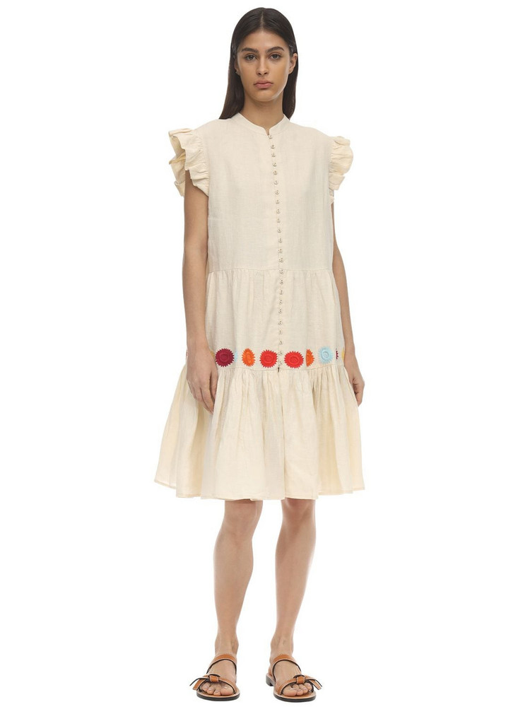 CAROLINA K Anna Buttoned Linen Dress in cream