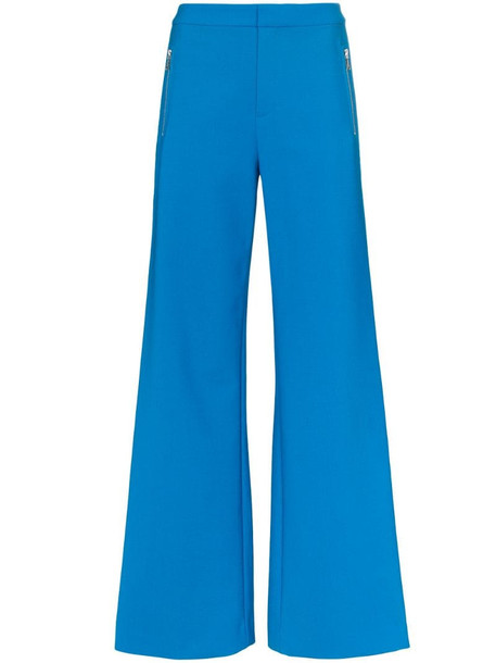 AREA rhinestone stripe wide leg trousers in blue