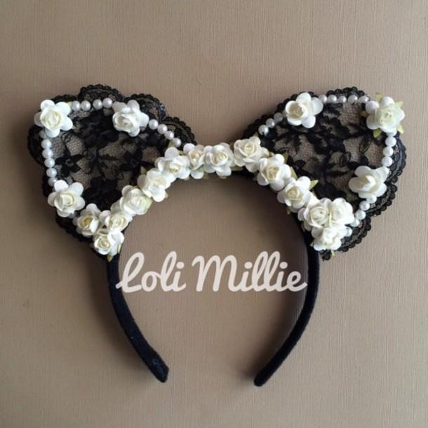 hair accessory roses black and white headband