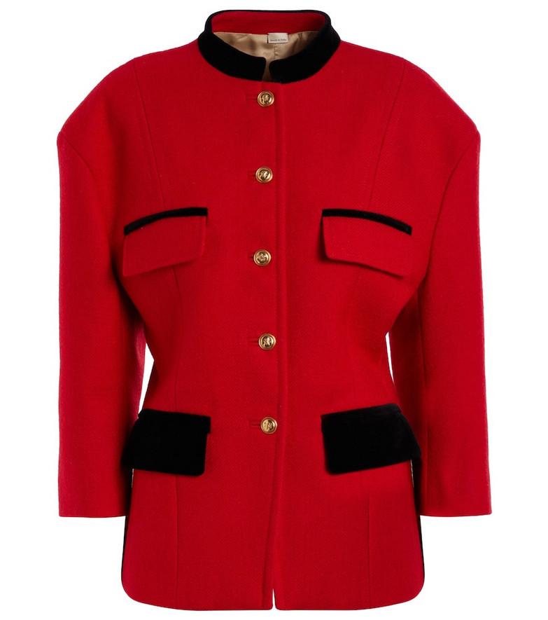 Gucci Velvet-trimmed wool-blend jacket in red