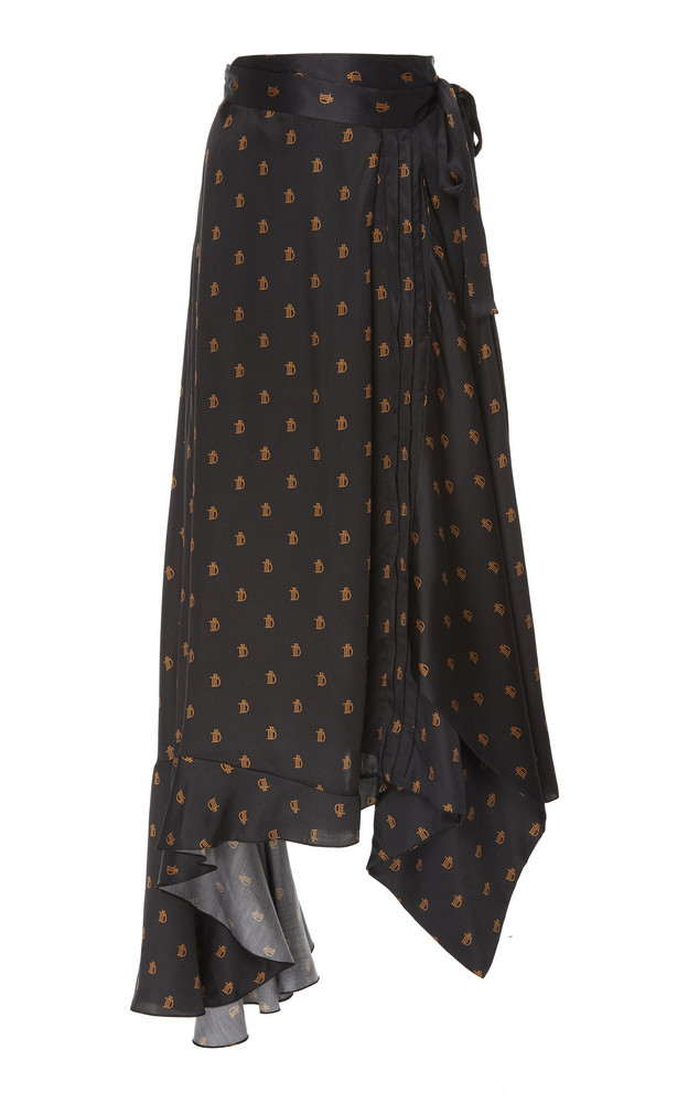Preen by Thornton Bregazzi Parisa Logo Print Midi Skirt in black