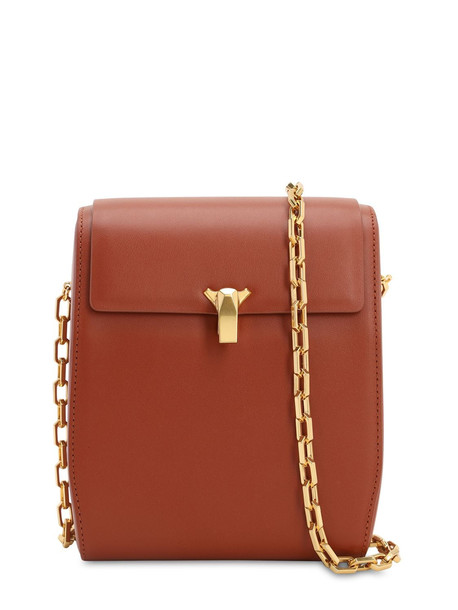THE VOLON Po Box Smooth Leather Shoulder Bag in tan
