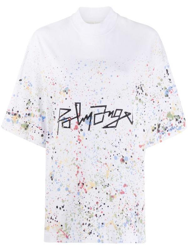 Palm Angels paint-splatter logo-print T-shirt in white
