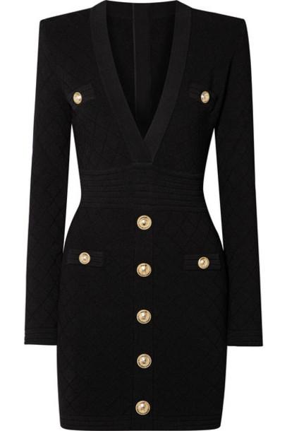 Balmain - Button-embellished Stretch Jacquard-knit Mini Dress - Black