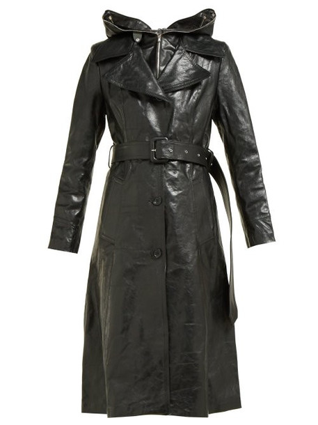Vetements - Masked Leather Trench Coat - Womens - Black