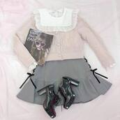 sweater,shoes,top,lace top,shorts,skirt,mini skirt