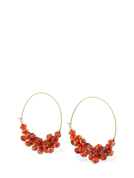 ISABEL MARANT Beaded Hoops Earrings in gold / red