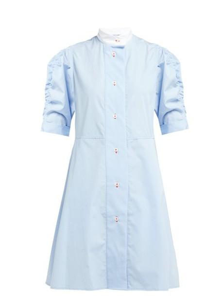 Thierry Colson - Tiffen Cotton Poplin Shirtdress - Womens - Blue