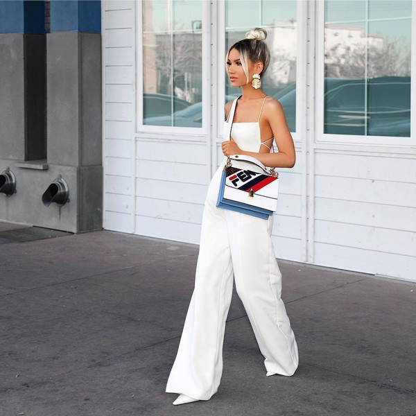 jumpsuit white jumpsuit white shoes white bag fendi earrings