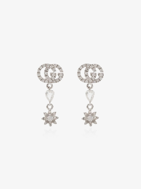 Gucci 18K white gold double G flower diamond earrings