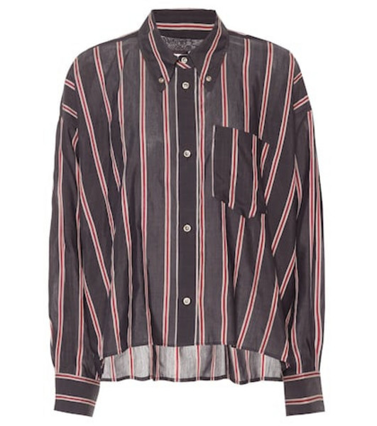 Isabel Marant, Étoile Ycao striped cotton-blend shirt in black