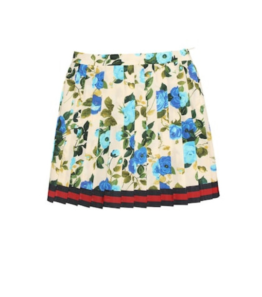 Gucci Kids Floral-printed cotton skirt in blue