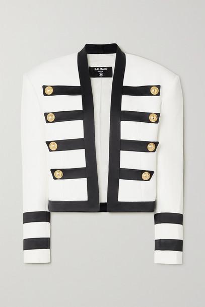 BALMAIN - Button-embellished Satin-trimmed Crepe Blazer - White